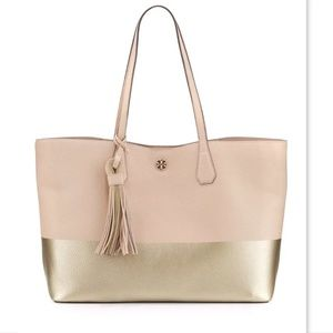 New TORY BURCH Logo Light Oak-Gold Leather Tote